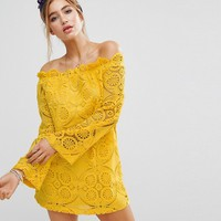PrettyLittleThing Lace Bardot Shift Dress at asos.com
