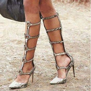 Leather Snakeskin Cutout Knee High Sandals