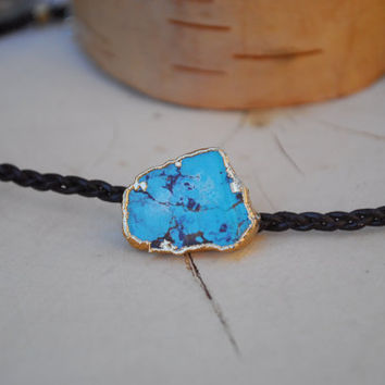 LEATHER CHOKER /// 24kt Gold Electroformed Turquoise and Braided Leather Choker