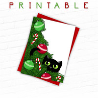 Cat Christmas Card, Printable Cat Card, Printable Christmas Cards, Hand Drawn, Black Cat in Christmas Tree, Black Cat Christmas Illustrated