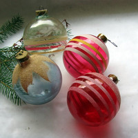 4 Large Christmas Ornaments / Large Striped Ornaments / Flocked Christmas Ornaments