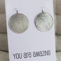 You are Amazing Gift Card Circle Drop Jewelry Family and Friend Gift Alloy Woman Fashion Dangle Earrings
