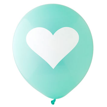 Aqua and White Big Heart Balloon