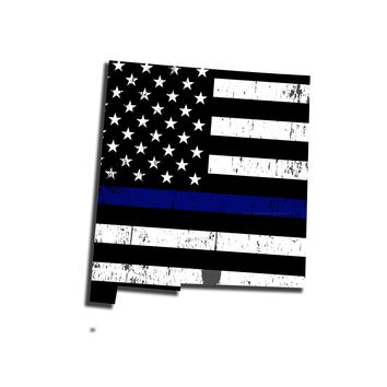 New Mexico Distressed Subdued US Flag Thin Blue Line/Thin Red Line/Thin Green Line Sticker. Support Police/Firefighters/Military