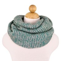Two-Tone Winter Knit Warm Infinity Circle Scarf, Teal