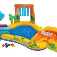 Inflatable Kiddie Water Slide And Adventure Water Park Pool