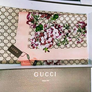 GUCCI Fashion Women Easy to match Silk Scarf I