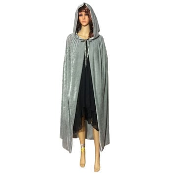 Festival Hooded Cloak Cosplay Velvets Gothic Cape Wicca Robe Vampire Costume