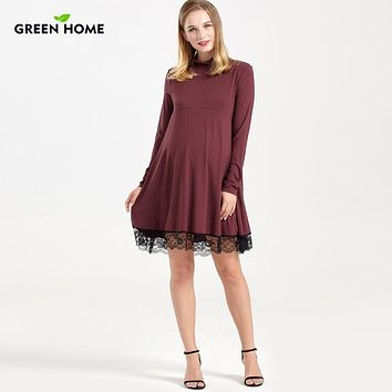 Long Sleeve Flowy Maternity / Nursing Lace Bottom Dress