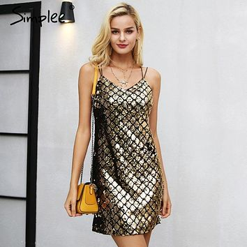 Simplee Strap backless sequin winter dress women Sexy club party dresses female 2018 Christmas mini dress robe femme vestidos