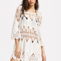 White Scallop Hem Hollow Design Crochet Cover Up