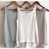 white Tank top shirt\ women tank top\ summer singlet\Colors available: White\ Light gray---FREE SHIPPING!! S M L