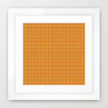 Pink On Yellow Grid Framed Art Print by Moonshine Paradise | Society6