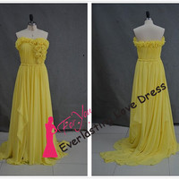 Sweetheart Hand Made Flowers Ruched Yellow Chiffon Prom Dresses Floor Length Evening Dresses Long Party Dress vestido de festa formal
