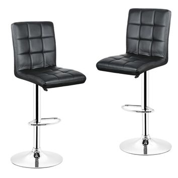 2pcs/Black Grid Swivel Bar Stools Chairs Height Adjustable