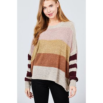 Women Casual Fall Sweater Long Dolman Sleeve Round Neck Multi Color Block Sweater