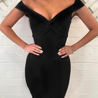 Black Plunge Knot Front Bodycon Dress