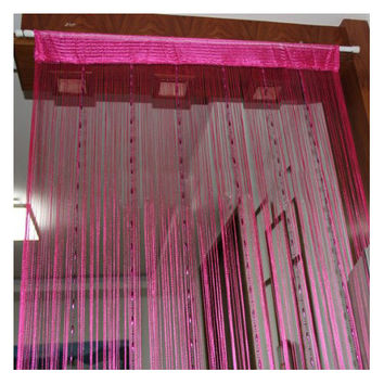 Romantic Solid Color Fringe Door Curtain Drape String with Bead Chain 1X2M (Rose Red)