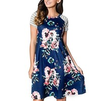 Short Sleeve Floral Casual Dress