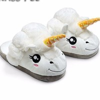 Unicorn Slippers with Plush Smiling White Head and Golden Horn and Fuzzy Mane