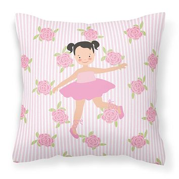 Ballerina Black Hair Ponytails Fabric Decorative Pillow BB5187PW1818