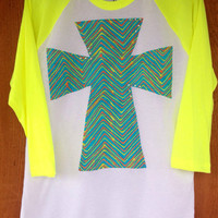 3/4 Sleeve Neon Yellow with Chevron Cross and Crystal Accents