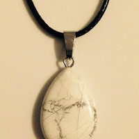 White Marble Tear Drop Shaped Crystal Necklace Pendant