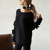 Casual Off Shoulder Knitted Sweater Loose Ruffles Long Sleeve Women Pullovers Jumper Sweater