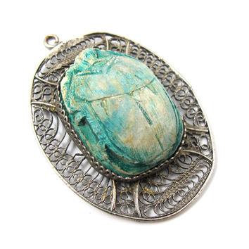Egyptian Revival Faience Scarab Pendant Huge Scarab Beetle Silver Filigree Art Deco Egyptian Jewelry
