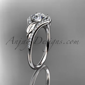 Platinum diamond leaf wedding ring, engagement ring ADLR334