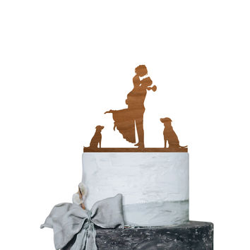 Romantic Hug Couple with 2 Dog Excited  - Wooden