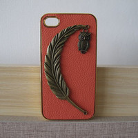 iPhone Case -- PU Leather iPhone Case -- iPhone 4 Case -- iPhone 4s Hard Case Cover -- Studded Case