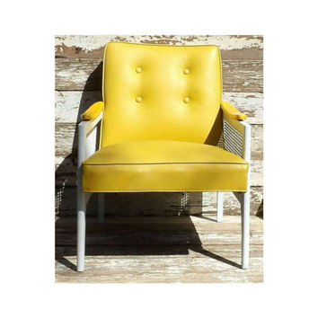 Club Chair Vinyl Naugahyde Yellow White Cane Wood Seat Cushion Office Entryway Living Room Waiting Area Seating Mid Century Modern Man Cave