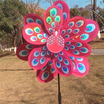 1pc Double Layer Peacock Laser Sequins Windmill Colorful Wind Spinner Home Garden Decor Yard Kids Toy Gift