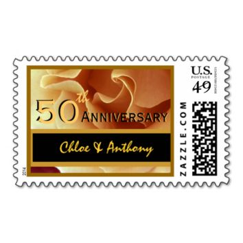 50th Anniversary Party GOLD and BLACK Wedding Rose Stamp