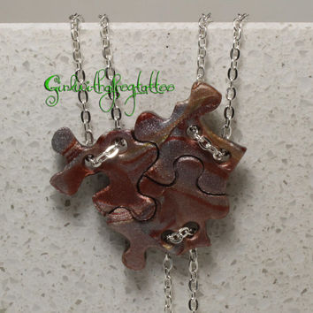 Puzzle Piece Interlocking Polymer Clay Necklaces 3 Piece Set  Slider Style Set 224