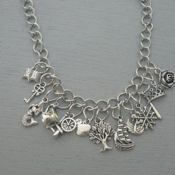 Once Upon A Time Cluster Charm Necklace OUAT Inspired Jewelry Statement Necklace