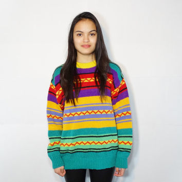 1990s colorful sweater - vintage retro sweater - oversized oversize - cotton acrylic knit - women xs extra small medium - stripe striped