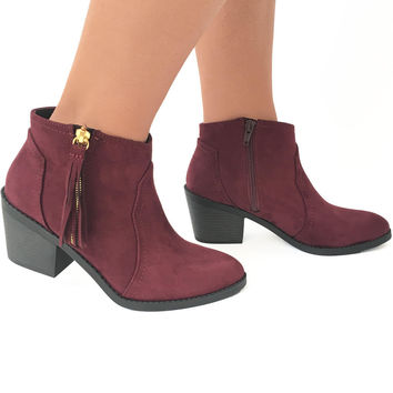 Round Up Booties In Burgundy