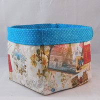 Pretty Paris Postcard Themed Fabric Basket For Storage Or Gift Giving