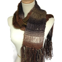 Brown Scarf, Hand Knit Scarf, Knit Scarf, Winter Scarf, Christmas Gift, Variegated brown, Men Scarf, Unisex,  Fashion Scarf, Women Scarf,