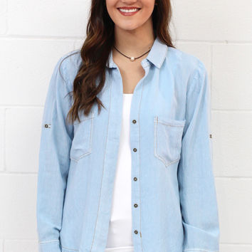 Split Back + Frayed Hem Button Down {Lt. Denim} EXTENDED SIZES