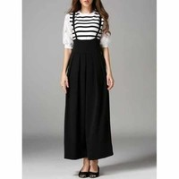 High Waist Loose Fitted Overalls - Black S