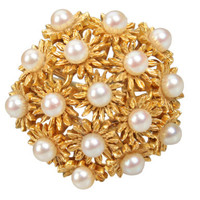 Gold and Pearl Floral Cluster Ring