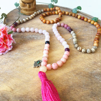108 Mala Necklace wrap bracelet with tassel & Hamsa charm. Raja Kaju Amethyst Lotus seed Pink Quartz mala. Yoga Necklace, Meditation Jewelry