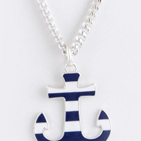 Striped Anchor Necklace and Earring Set