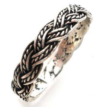 Sterling Silver Braided Ring Band Size 9 Vintage