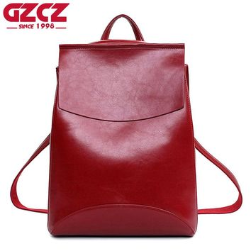 Genuine Soft Cowhide Leather Vintage Backpack Purse Female Casual Shoulder Bags
