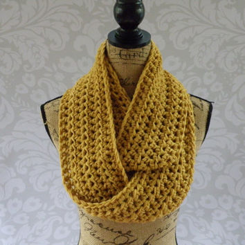 Ready To Ship Infinity Scarf Mustard Gold Dark Yellow Women's Accessory Cowl Infinity Scarf
