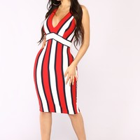 Marilynn Striped Midi Dress - Red